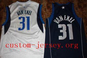 Custom Nick Van Exel #31 dallas basketball jersey blue,white