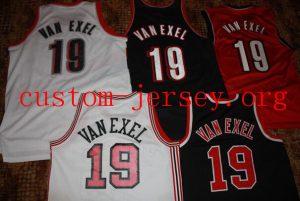 #19 Nick Van Exel portland basketball jersey black,white,red