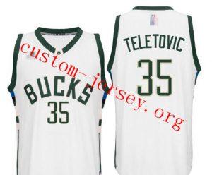 #35 Milwaukee Bucks Mirza Teletovic 2016 New Swingman Jersey Green,black,white