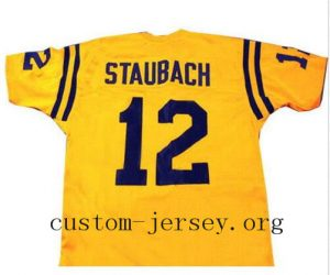 CUSTOM ROGER STAUBACH JERSEY YELLOW SEWN NEW