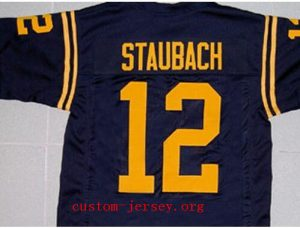 CUSTOM Navy ROGER STAUBACH JERSEY YELLOW SEWN NEW