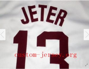 """#13 """"D. JETER"""" KALAMAZOO baseball jersey white"""